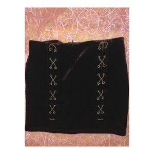 Brown Velvet Criss Cross Mini Skirt